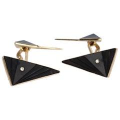 Pair Isabelle Posillico Onyx & Diamond Geometric 1980s Memphis Style Cufflinks