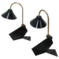 Pair of Italian 1990s Memphis Style Black Metal Bedside Wall or Desk Lamps