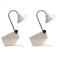 Pair of Italian 1990s Memphis Style Small White Metal Bedside Wall or Desk Lamps