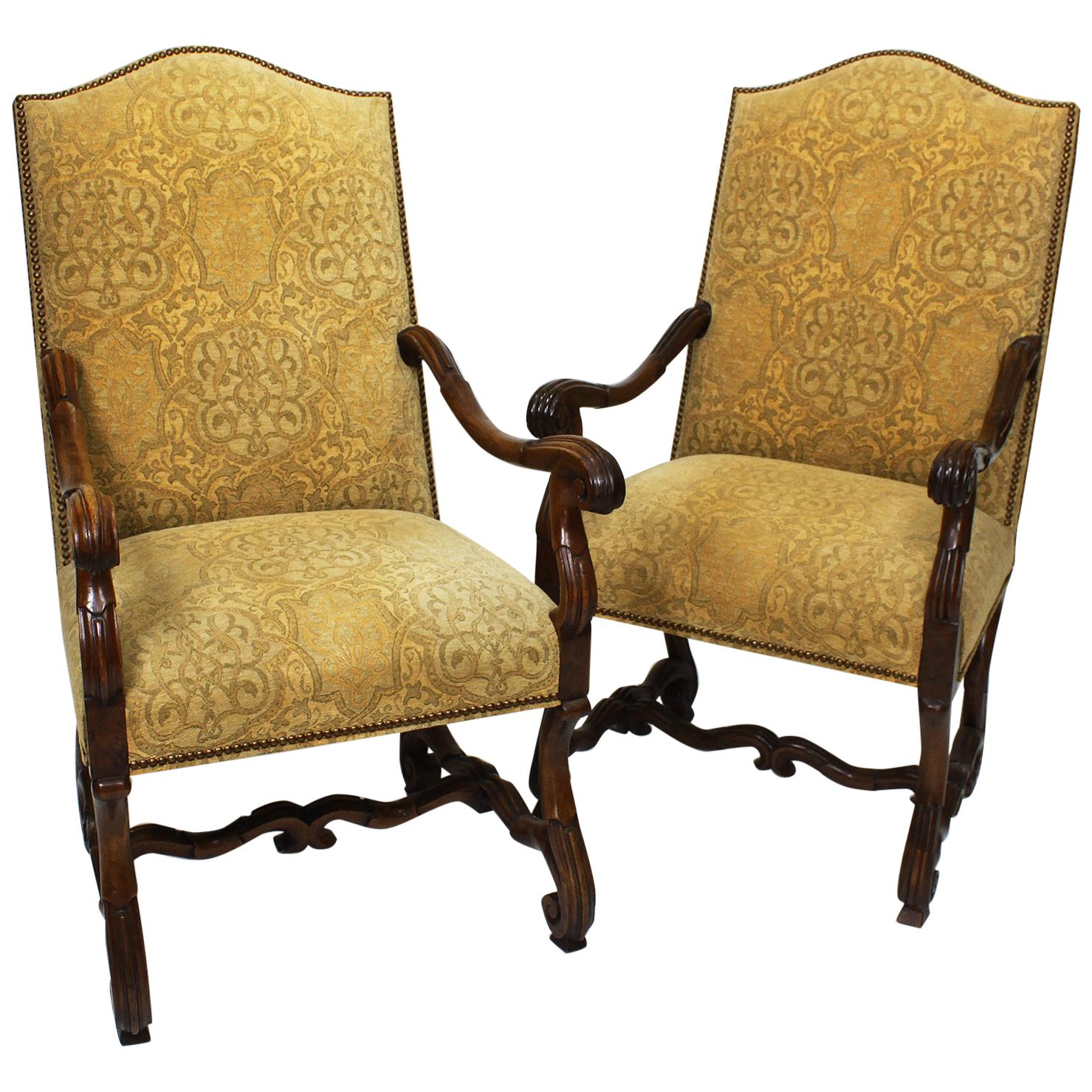 Pair of 19th Century Baroque Revival Style Carved Walnut Throne Armchairs