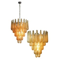 Pair of Italian Amber Crystal Chandelier, Murano