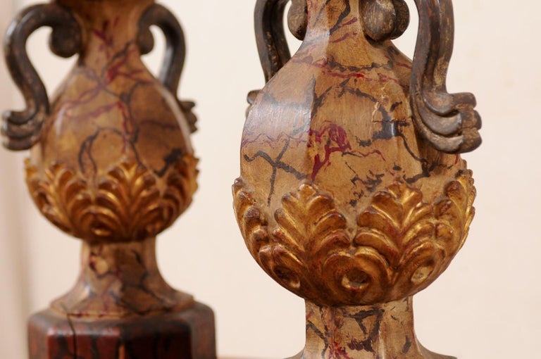 Pair of Italian Antique Carved-Wood Bouquet Urns with Polychrome Finish For Sale 6