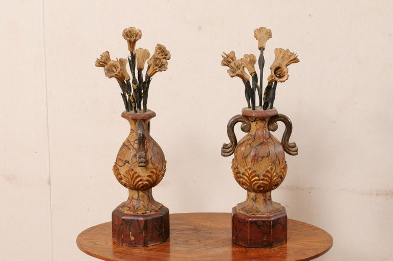 Pair of Italian Antique Carved-Wood Bouquet Urns with Polychrome Finish For Sale 2