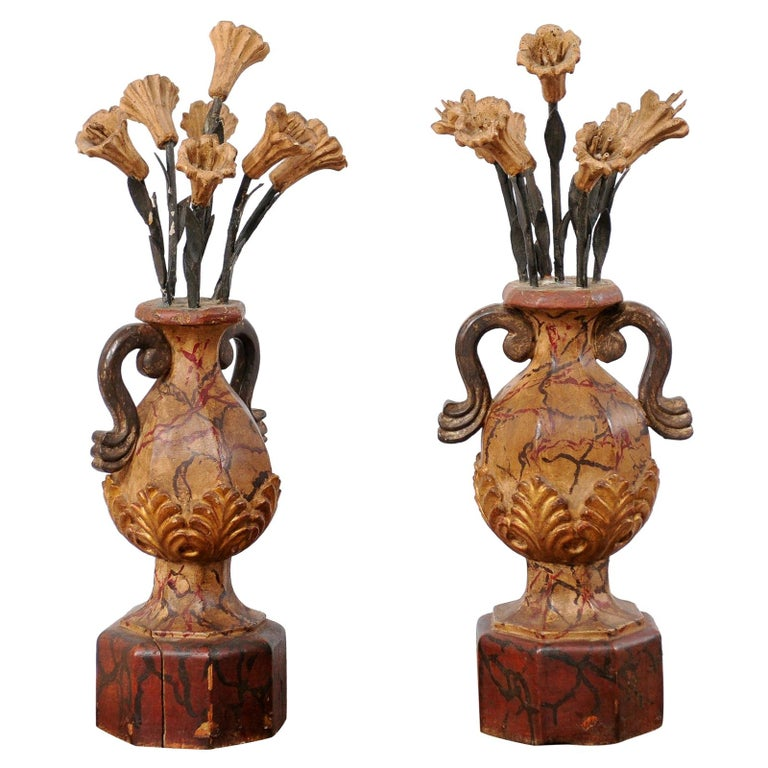 Pair of Italian Antique Carved-Wood Bouquet Urns with Polychrome Finish For Sale