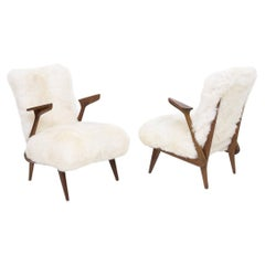 Pair Italian Armchairs Attributed to Giuseppe Scapinelli in White Fur