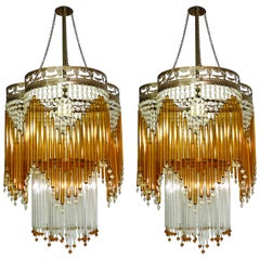 Pair Italian Art Deco Art Nouveau Amber & Clear Beaded Glass Murano Chandeliers
