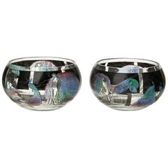 Pair of Italian Art Deco Vetri d'Arte 'Vedar' Enamelled Glass Bowls