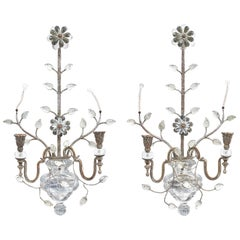 Pair of Italian Banci Glass and Silver Gilt Wall Sconces, circa 1950
