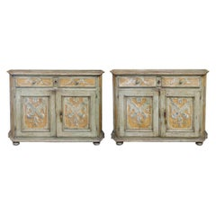 Pair of Italian Baroque Polychrome Painted Credenzas