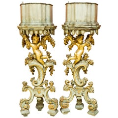 Pair of Italian Baroque Style Planter Pedestals, 19th Century