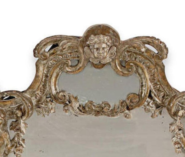 Hand-Carved Pair of Italian Baroque Style Silver Mirrors, 19th Century For Sale