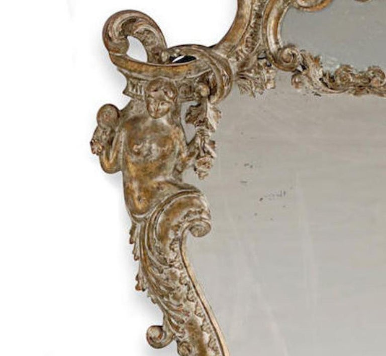 Pair of Italian Baroque Style Silver Mirrors, 19th Century In Good Condition For Sale In Cypress, CA