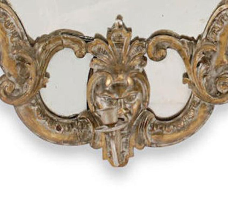 Pair of Italian Baroque Style Silver Mirrors, 19th Century For Sale 1