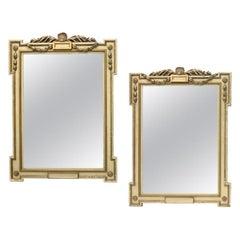 Pair Italian Beige Painted Mirrors, 19th Century