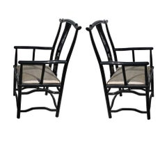 Pair Italian Black Lacquer Chin Hua Arm Chairs