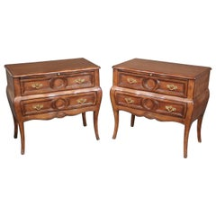 Italian Bombe Walnut Nightstands Commodes with Slide Out Trays circa 1950s, Pair