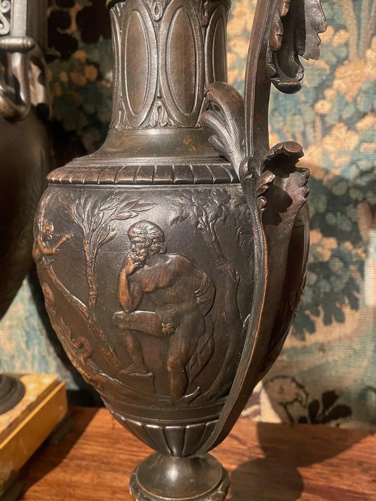 Pair of Italian Bronze Ewers with Scenes of Classical Antiquity, circa 1870 3