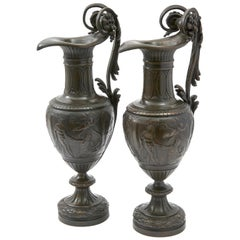Pair of Italian Bronze Ewers with Scenes of Classical Antiquity, circa 1870