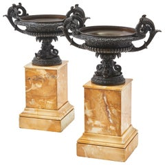 Pair of Italian Bronze Tazzas on Siena Marble Bases, c.1850