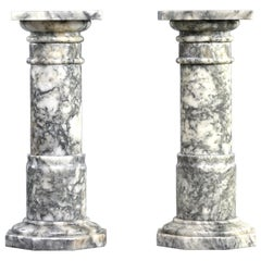 Pair of  Italian Carved Marble Columns