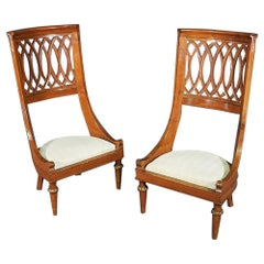 Pair Italian Carved Walnut Reticulated Carved Back Occassional Chairs circa 1890