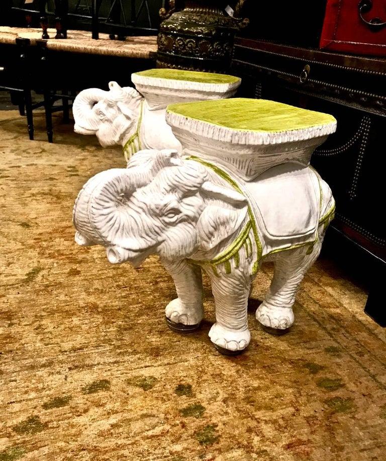 Pair Italian Ceramic Elephant Garden Stools Or Tables For