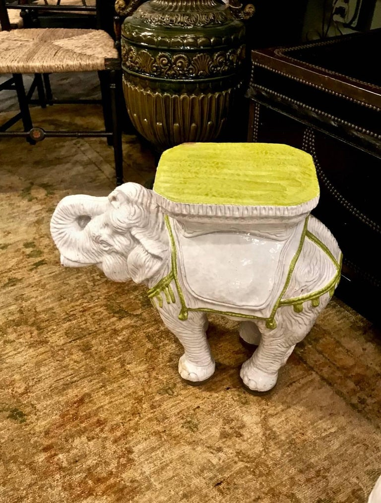 Pair Italian Ceramic Elephant Garden Stools or Tables In Good Condition For Sale In Pasadena, CA
