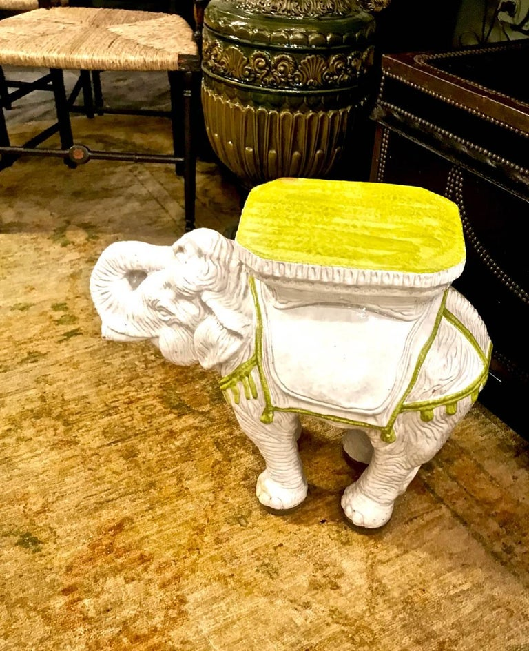 20th Century Pair Italian Ceramic Elephant Garden Stools or Tables For Sale