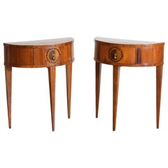 Pair of Italian Cherrywood & Inlaid 1-Drawer Demilune Bedside Tables, circa 1835