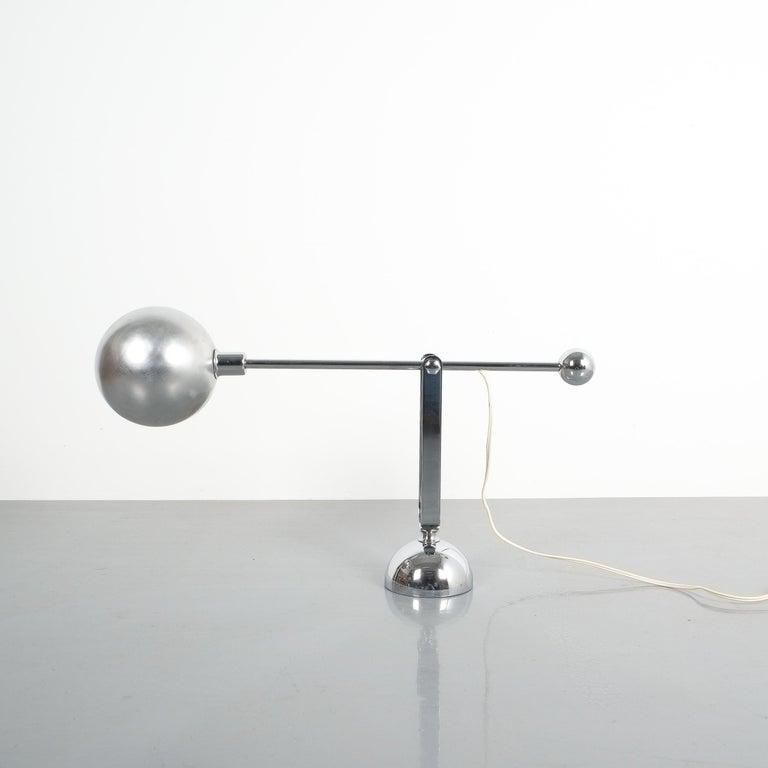 Mid-Century Modern Pair of Italian Chrome Counterweight Table Lamp by Sergio Asti