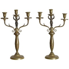 Pair Italian Empire Period Brass 3-Light Figural Candelabras, Early 19th Century