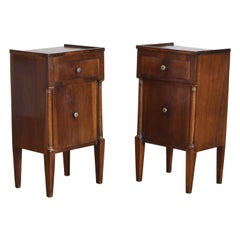 Pair of Italian Empire Period Walnut Bedside Cabinets, 19h Century