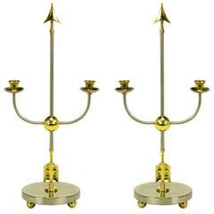 Pair Italian Empire Style Brushed Steel & Brass Candelabra