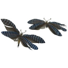 Pair Blue Butterfly Brooches