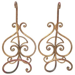 Pair of Italian Florentine Gold Gilt Metal Coat Hook Toleware Tole, 1950s