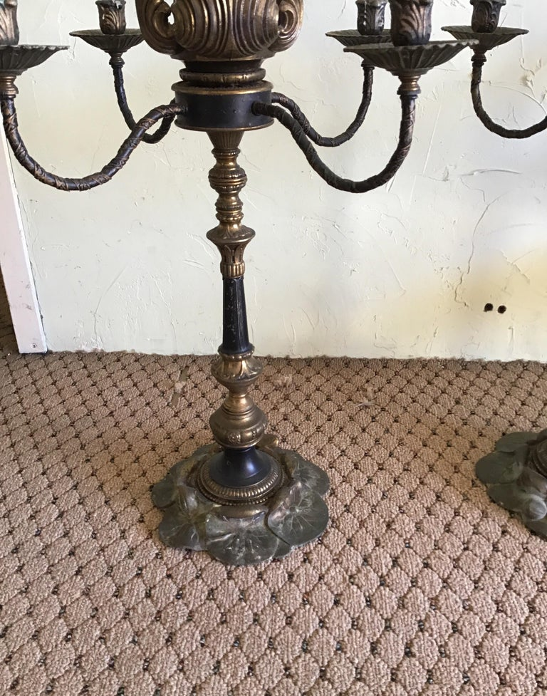 Mid-20th Century Pair of Italian Flower Based Large Candelabra For Sale
