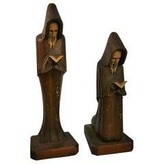 Pair Italian Folk Art Hand Carved Franciscan Friars Sculptures