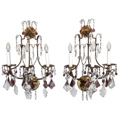 Pair of Italian Gilt Metal Crystal Beaded Amethyst Wall Sconces