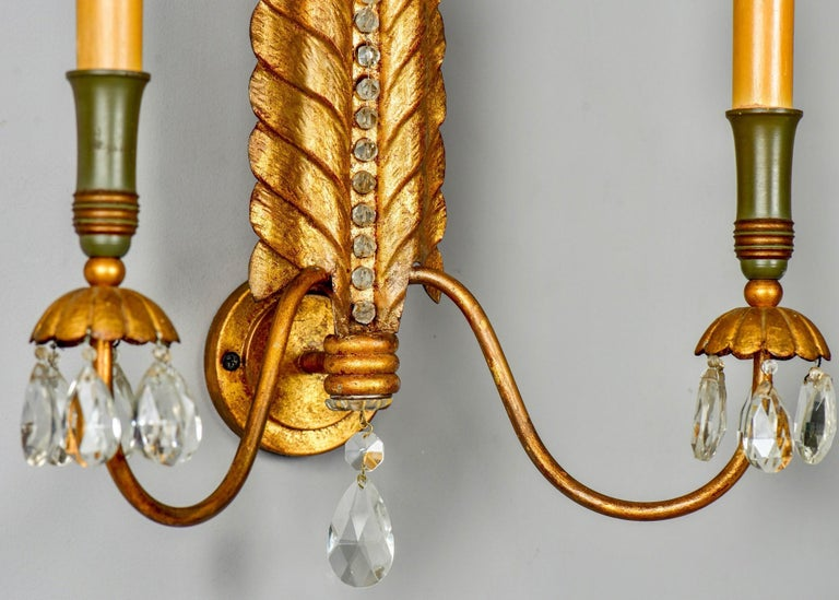 Pair of Italian Gilt Metal Two-Light Sconces with Crystals and Beading For Sale 2