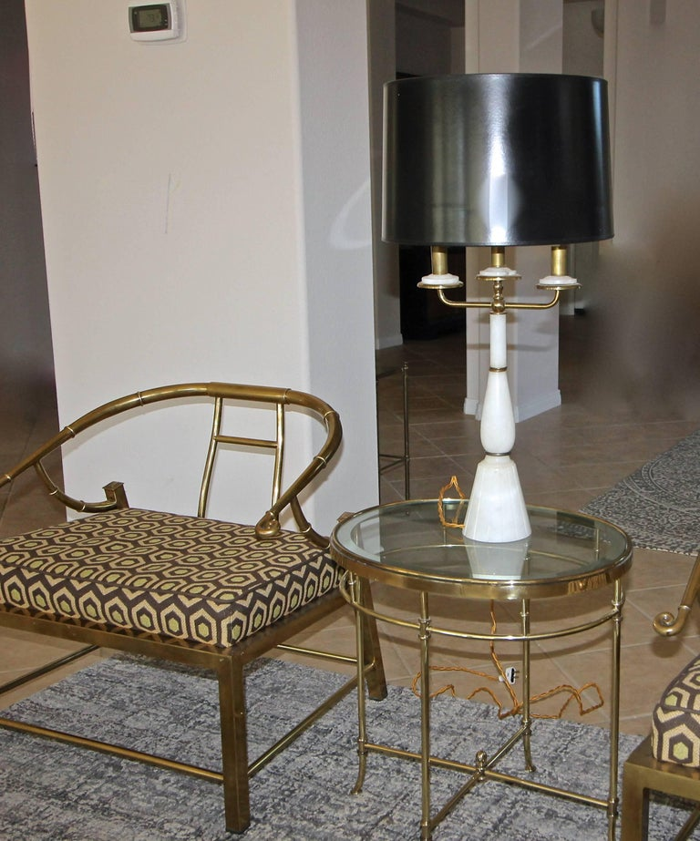 Pair of Italian Gio Ponti Style Alabaster Brass Lamps For Sale 12