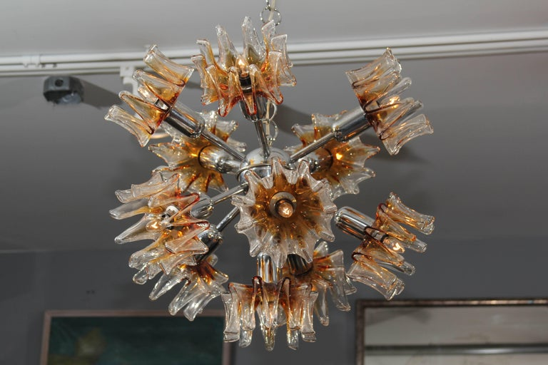 Pair of Italian Glass and Chrome Chandelier and Ceiling Mount Light Fixtures For Sale 6