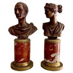 Pair Italian Grand Tour Style Bronze Bust