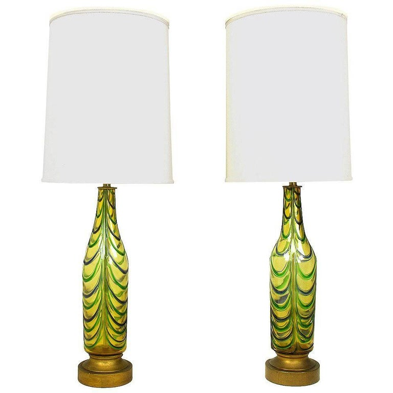 Pair of Italian Handblown Saffron, Green and Blue Ribbed Glass Table Lamps