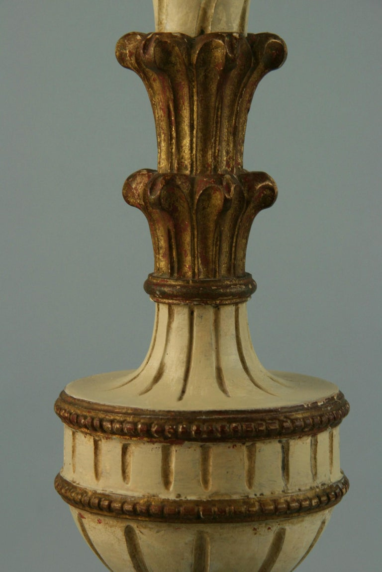 Pair Italian Hand Carved Alter Candle Lamps In Good Condition For Sale In Douglas Manor, NY