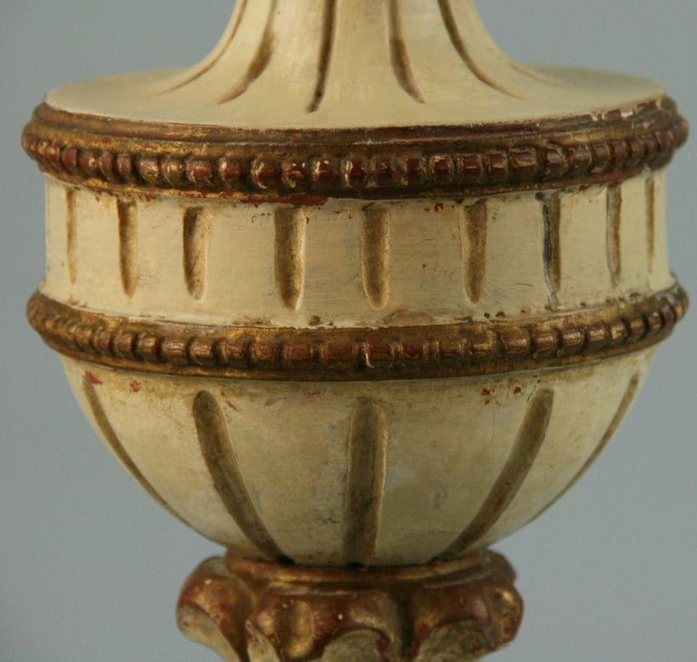 Pair Italian Hand Carved Alter Candle Lamps For Sale 3