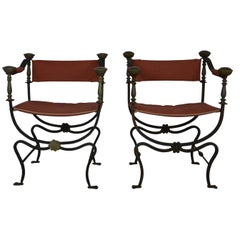Pair of Italian Iron and Brass Savonarola Chairs