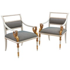 Pair of Italian Large Neoclassical Parcel-Gilt Open Armchairs, circa 1850