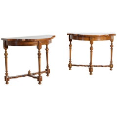 Pair Italian Louis XIV Period Olivewood & Walnut Console Tables, Early 18th Cen