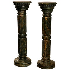 Pair of Italian Malachite Green Carved Marble Sculpture Display Pedestals