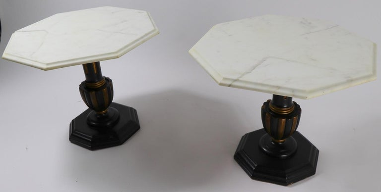 Pair Italian Marble Top Tables with Polychrome Bases For Sale 6